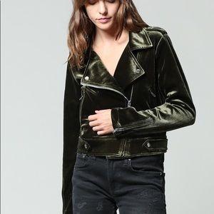 Fate Jackets & Coats - Velvet moto jacket: army green